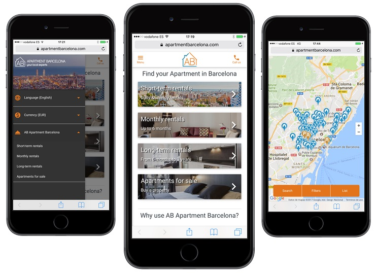 AB Apartment Barcelona hat ein neues Design der mobile Webseite